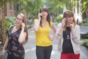 female employees using communication tools for business